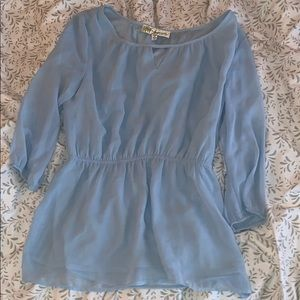 Blue peplum style blouse